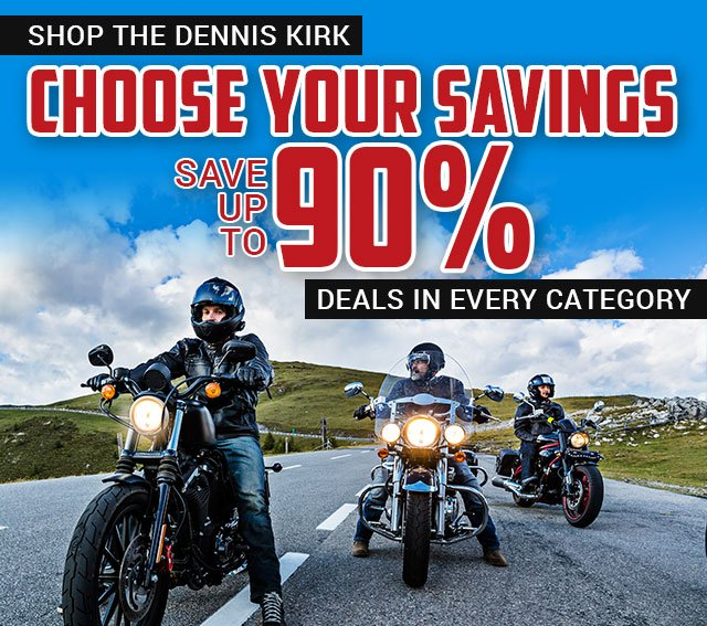 Save up to 90% when you shop the Dennis Kirk outlet store