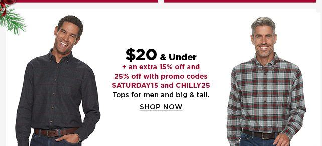 $20 and under tops for men and big and tall. shop now.