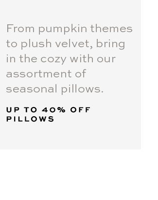 UP TO 40% OFF PILLOWS