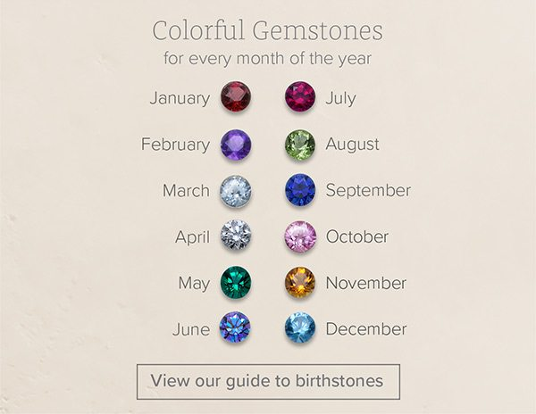 Colorful Gemstones for every month of the year - January - February - March - April - May - June - July - August - September - October - November - December - View our guide to birthstones