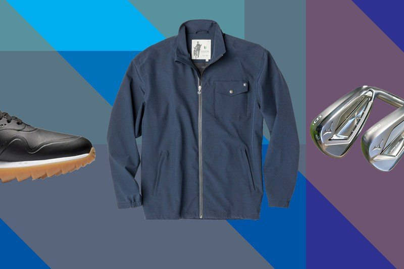 golf shoes, a golf jacket, and golf clubs