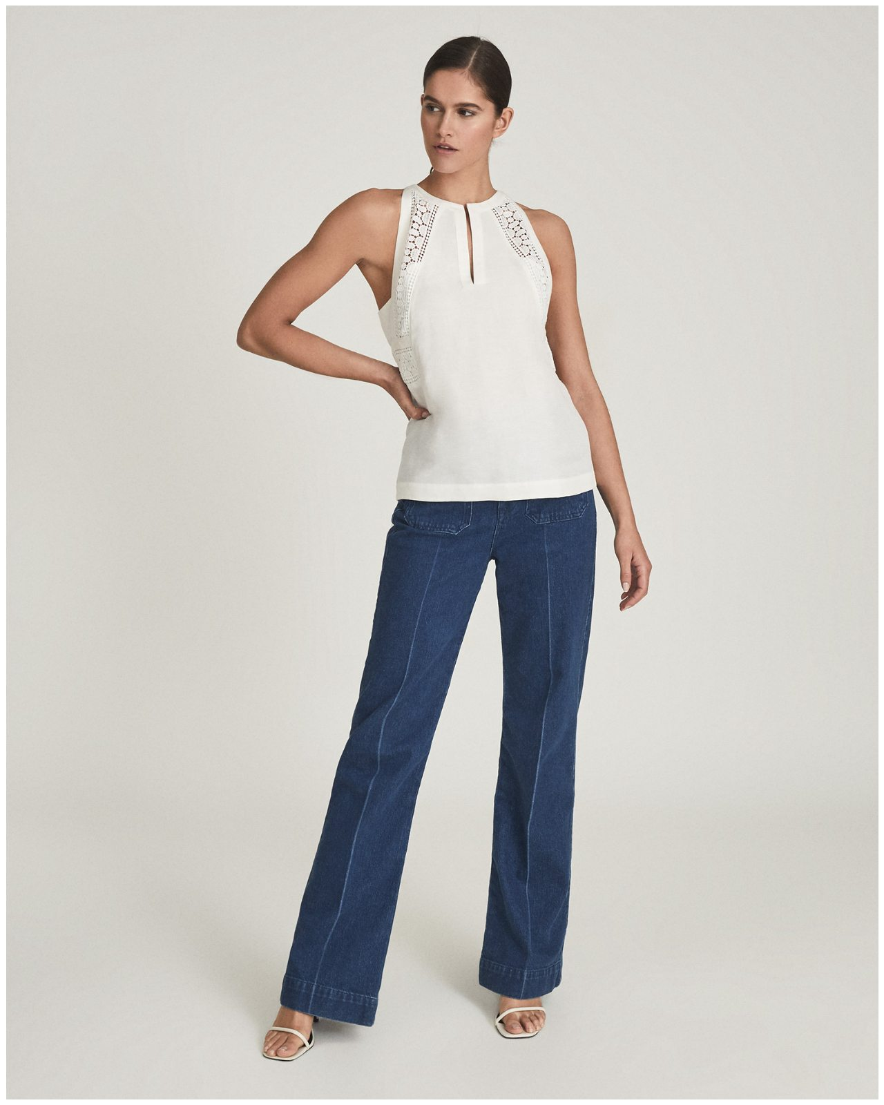 Lois White Embroidered Sleeveless Top
