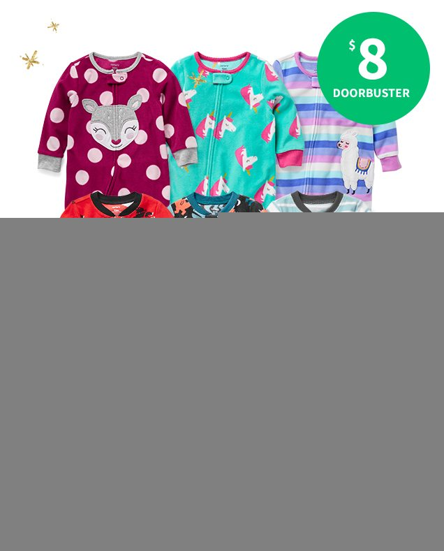$8 DOORBUSTER | COZY FLEECE FOOTIES | Give cozy snuggles for your littlest one this season.