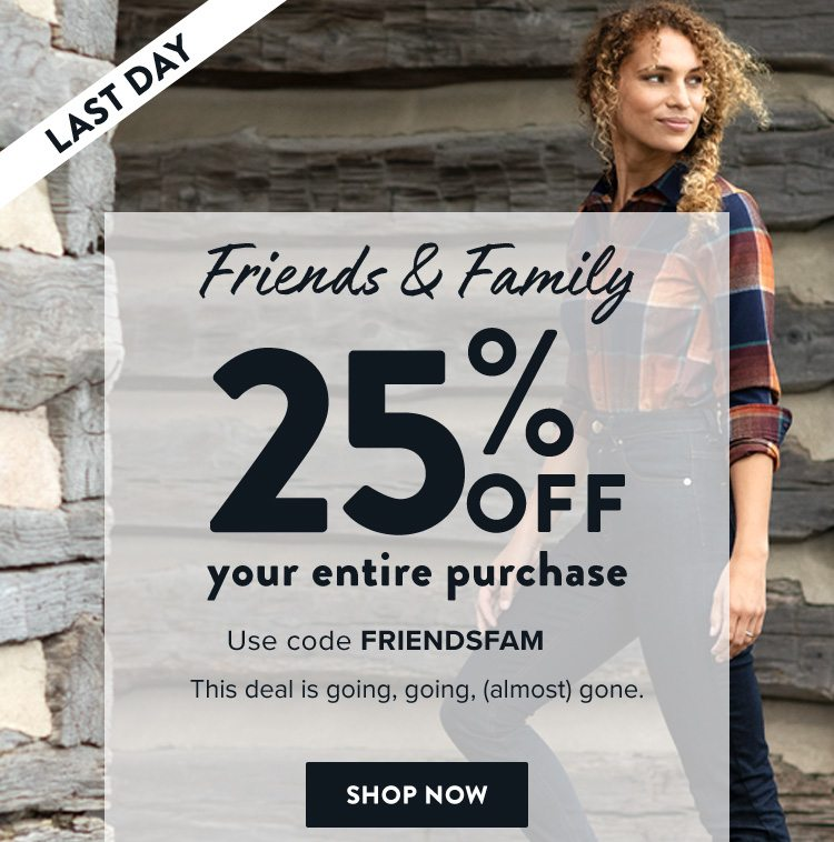 32fe4cabe2cc Take 25 percent off your purchase with code FRIENDSFAM