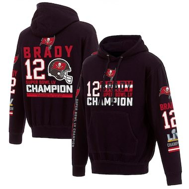 Tom Brady Tampa Bay Buccaneers Fanatics Branded 7-Time Super Bowl Champions Name & Number Pullover Hoodie - Black