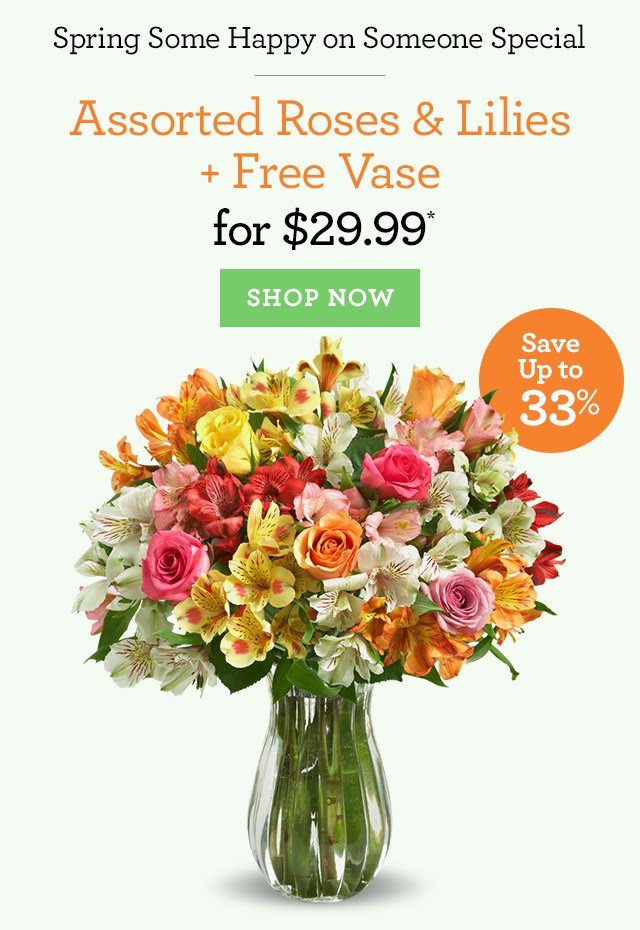Perfect For Her - Roses, Lilies & a FREE Vase - 1-800-FLOWERS.COM ...