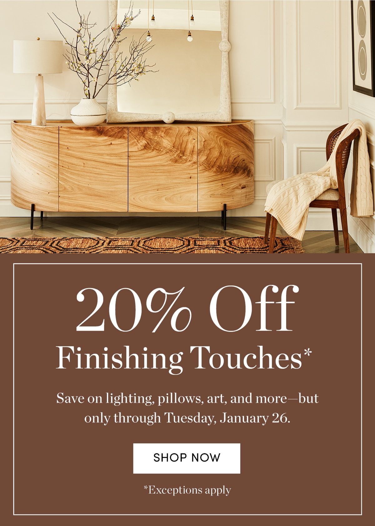 20 percent off finishing touches