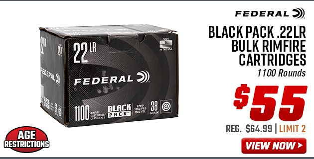 Federal Black Pack .22LR Bulk Rimfire Cartridges of 1100 Rounds