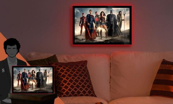 Justice League of America Movie Poster Large LED Poster Sign Wall Light by Brandlite