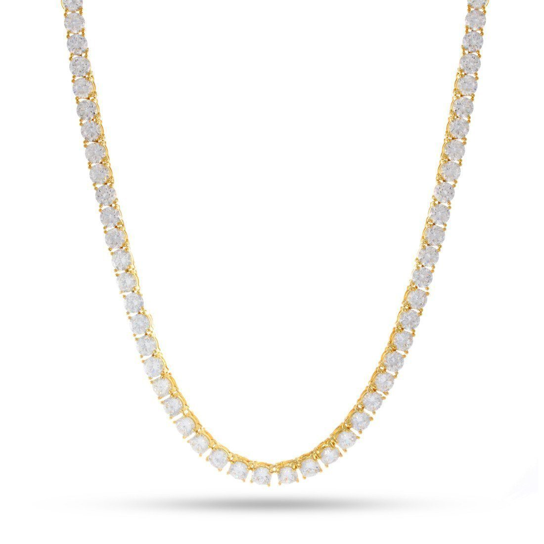 4mm, 14K Gold Single Row Tennis Chain