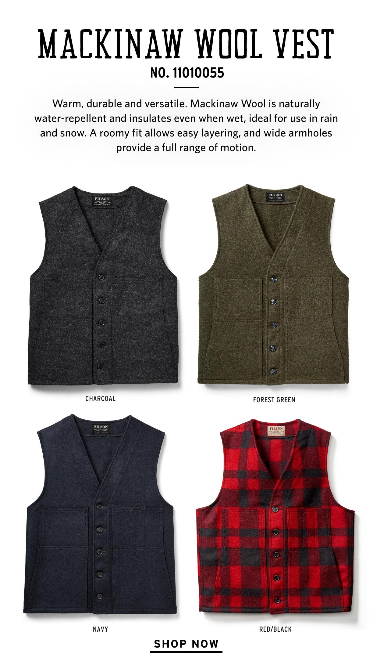 SHOP MACKINAW WOOL VESTS