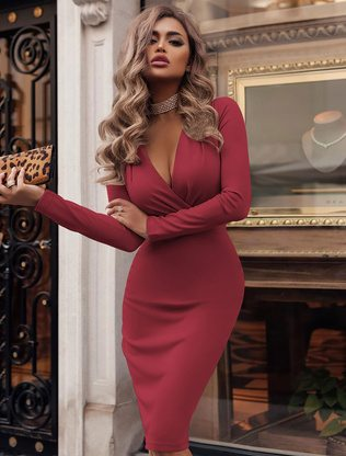 Sexy Bodycon Dress Plunging Party Dress Long Sleeve Shaping Midi Dress