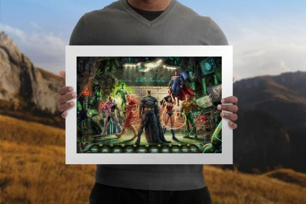 The Justice League Unframed Limited Edition Paper Art Print by Thomas Kinkade Studios