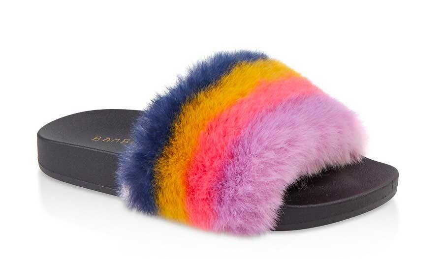 Striped One Band Faux Fur Pool Slides