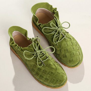 Suede Braided Scallop Casual Shoes