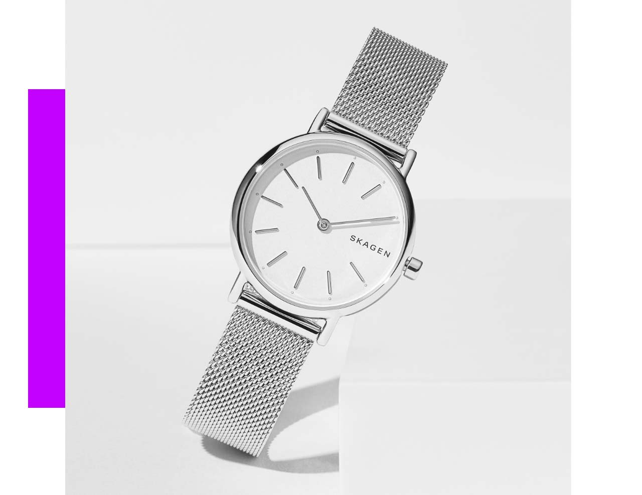 Silver Hald Watch with a steel-mesh strap