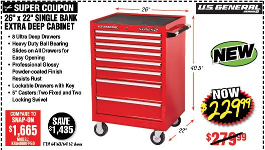 26 In X 22 Single Bank Red Roller Cabinet