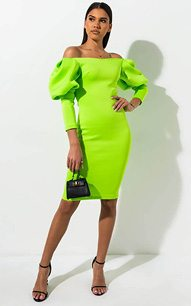 d4fa23605fc The AKIRA LABEL Double Vision Puff Sleeve Midi Dress is crafted from a  stretch scuba knit