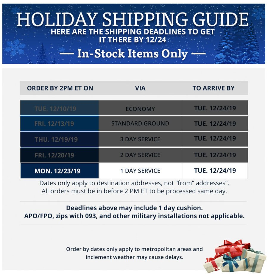 TackleDirect Holiday Shipping Guide
