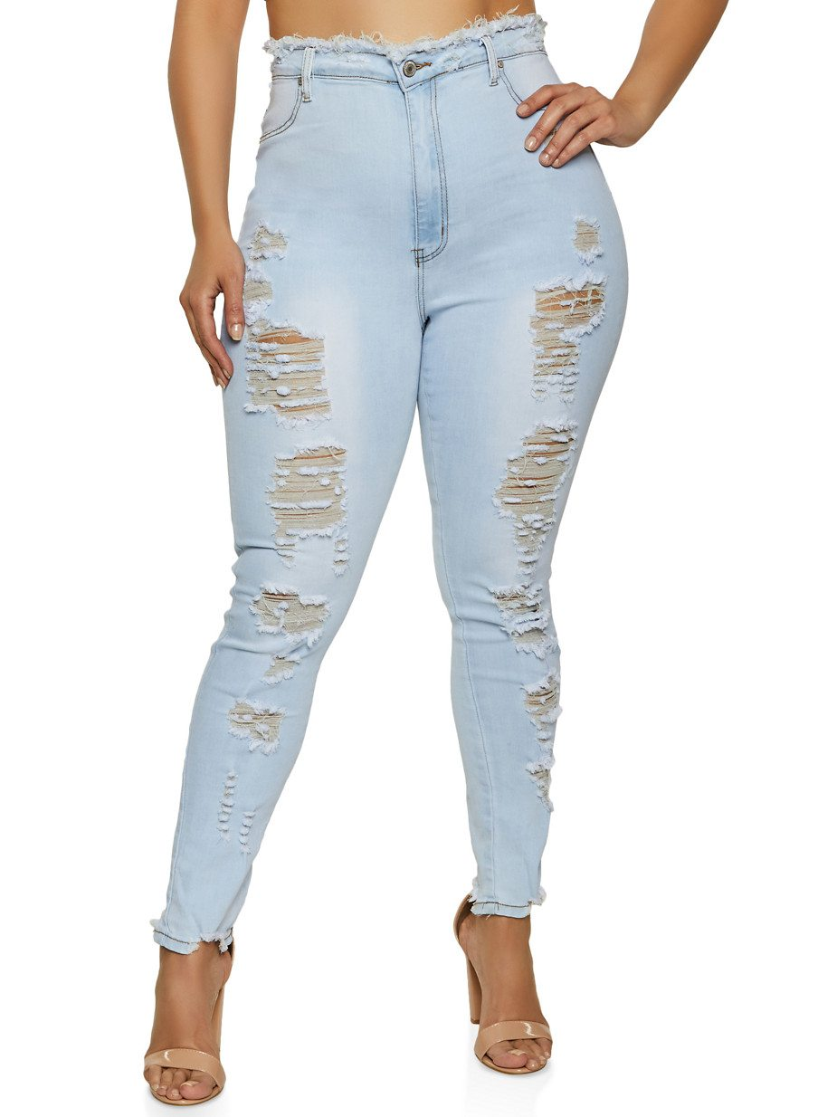 Plus Size Destructed Frayed Waist Skinny Jeans