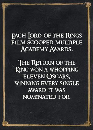 Each Lord of the Rings film scooped multiple Academy awards. The Return of the King won a whopping ELEVEN Oscars, winning every single award it was nominated for.