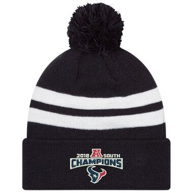 New Era Houston Texans Navy 2018 AFC South Division Champions Cuffed Pom Knit Hat