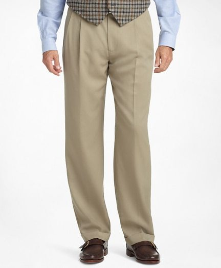 Madison Fit Pleat-Front Classic Gabardine Trousers