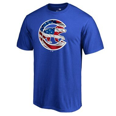 Chicago Cubs Fanatics Branded 2019 Stars & Stripes Banner Wave Logo T-Shirt - Royal