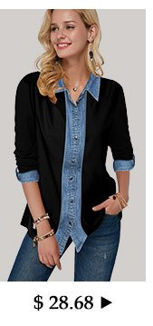 Turndown Collar Roll Tab Sleeve Button Up Shirt