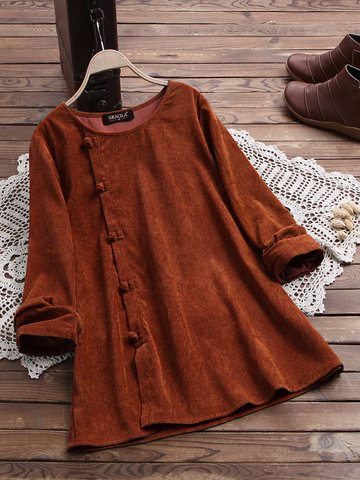 Corduroy Side Button Blouse