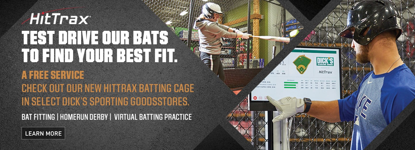 THE CAGE POWERED BY HITTRAX | TEST OUT YOUR BAT BEFORE YOU BUY IT | GET REAL TIME ANALYTICS | LEARN MORE >