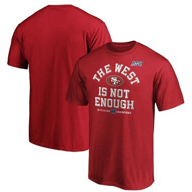 San Francisco 49ers NFL Pro Line by Fanatics Branded 2019 NFC West Division Champions Cover Two T-Shirt - Scarlet