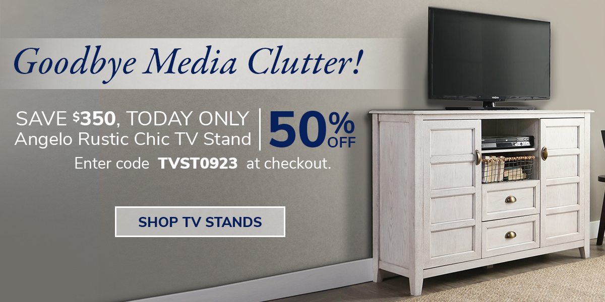 Goodbye media clutter! Save $350, TODAY ONLY. Enter code TVST0923 at checkout | SHOP TV STANDS