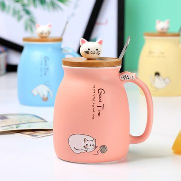 Cat Pattern Water Cup With Lid