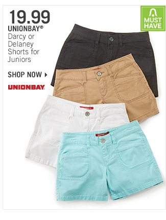 Shop 19.99 Unionbay Darcy or Delaney Shorts for Juniors