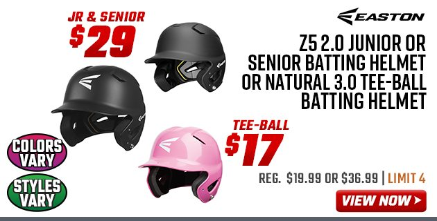 Easton Z5 2.0 Junior or Senior Batting Helmet or Natural 3.0 Tee-Ball Batting Helmet