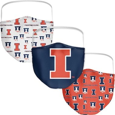 Illinois Fighting Illini Fanatics Branded Adult All Over Logo Face Covering 3-Pack