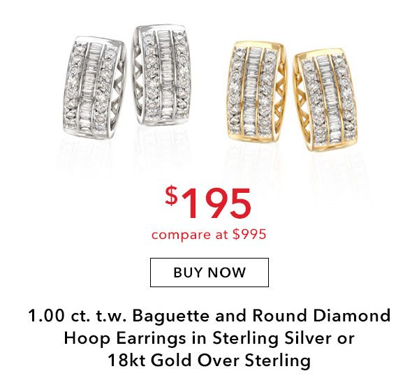 1.00 ct. t.w. Baguette and Round Diamond Hoop Earrings in Sterling Silver or 18kt Gold over Sterling. $195. Buy Now