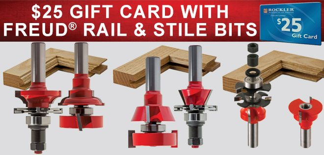 $25 Gift Card with Freud Rail & Stile Bits