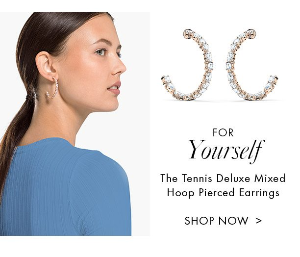 The Tennis Deluxe Mixed Hoop Pierced Earrings