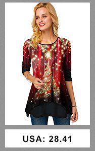 Christmas Print Long Sleeve Round Neck T Shirt
