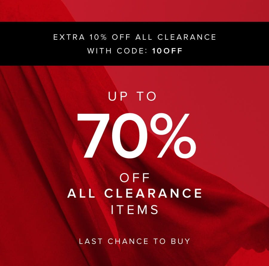 Extra 10% off ALL clearance with code 10OFF. Up to 70% off all clearance items Last chance to buy