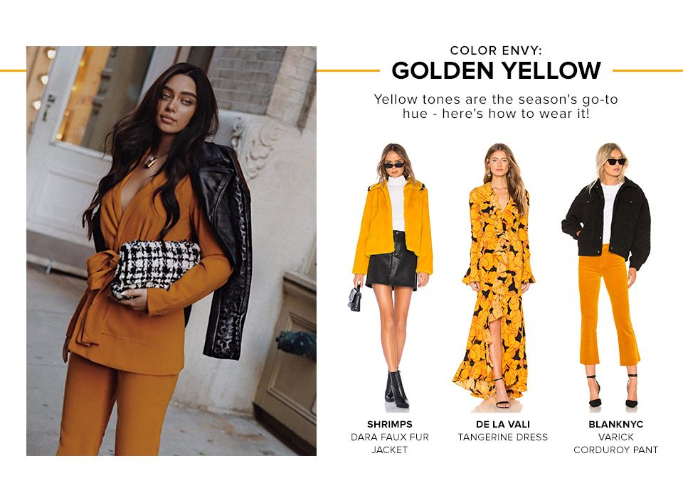COLOR ENVY: GOLDEN YELLOW. Yellow tones are the season's go-to hue - here's how to wear it!