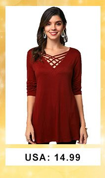 Lace Up Three Quarter Sleeve Wine Red T Shirt