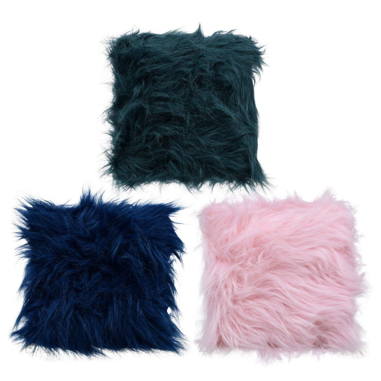 Colored Faux Fur Pillows, 8x8x2 in.