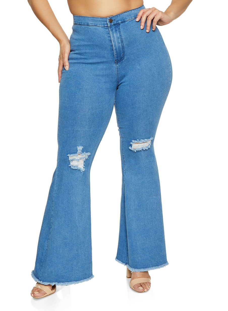 Plus Size Distressed Bell Bottom Jeans