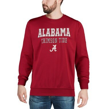 Colosseum Alabama Crimson Tide Crimson Stacked Performance Pullover Sweatshirt
