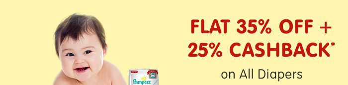 Flat 35% OFF & 25% Cashback* on All Diapers