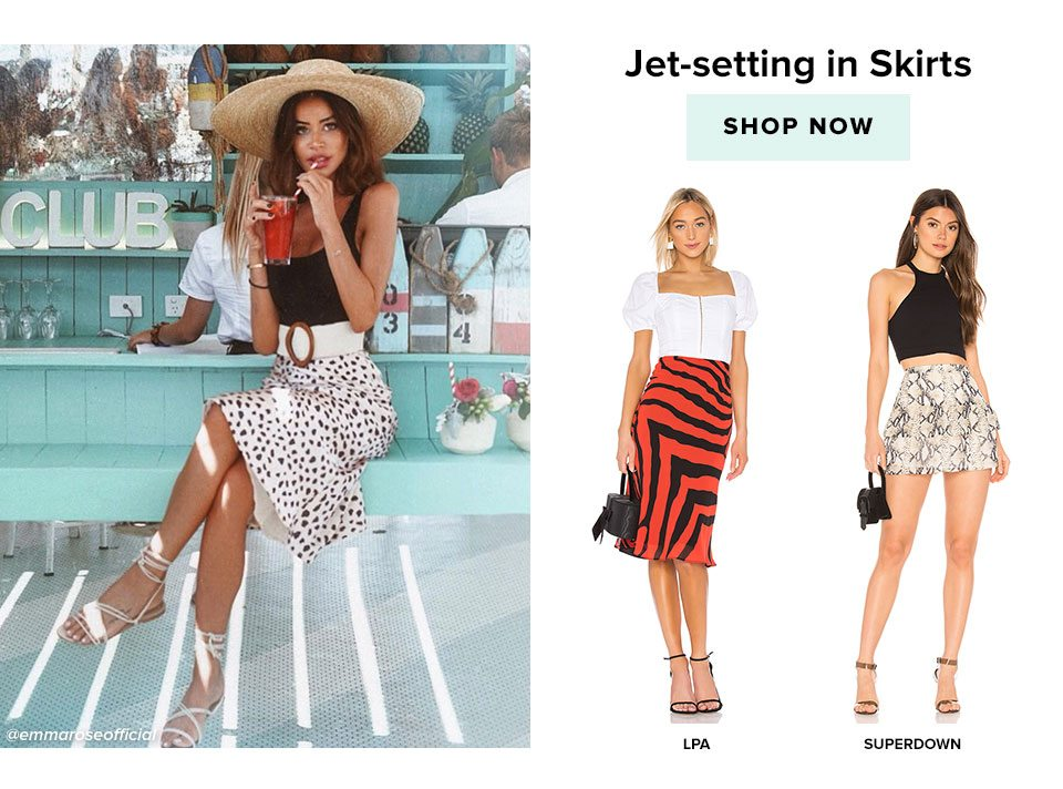 Jet-setting in Skirts. Shop now.