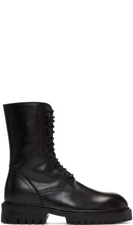 Ann Demeulemeester - Black Buckle Lace-Up Boots